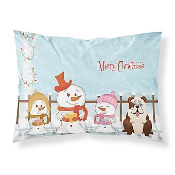 Feliz Navidad cantantes Bulldog ingles atigrado blanco tela estándar Pillowcas
