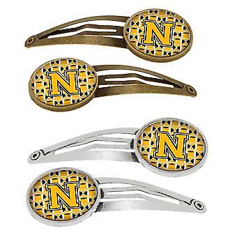 Letra N del balompié, oro viejo y negro Set de 4 pinzas de pelo Barrettes