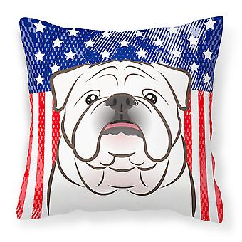 American Flag and White English Bulldog  Fabric Decorative Pillow