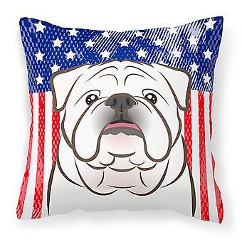Amerikanska flaggan och vit engelsk Bulldogg tyget dekorativa kudde