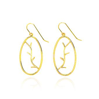 14k Yellow Gold Twig Design Drop Earring with Fish Hook in Gift Box