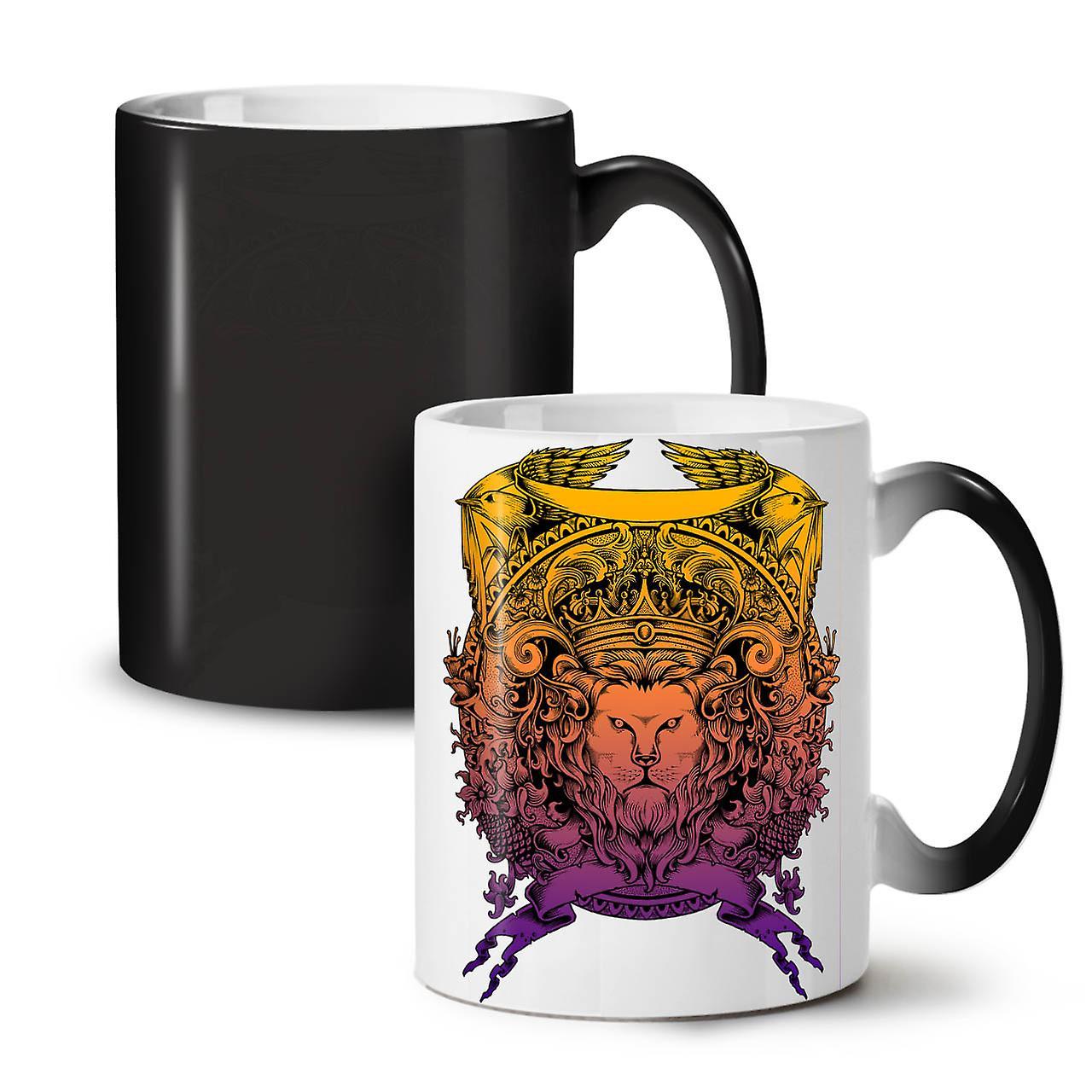 Changeant Noir Café Céramique Couleur Lion Thé 11 Animal Folle Roi Tasse OzWellcoda Face Nouvelle tshdQCr