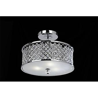 3 Light Ceiling Fitting In Chrome With Crystal Beads & Glass Diffuser - Endon Hudson-3ch