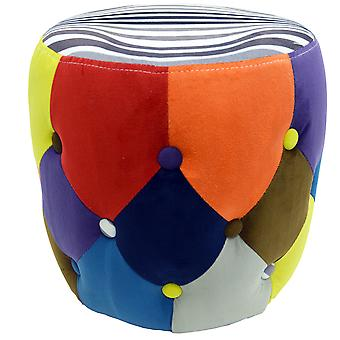Soleil - Circular Drum Stool / Padded Pouffe Seat - Multi-coloured