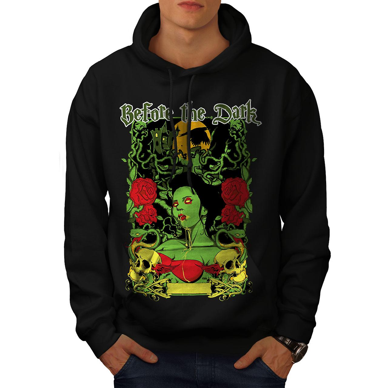 Before Dark Rose Zombie Men Black Hoodie | Wellcoda