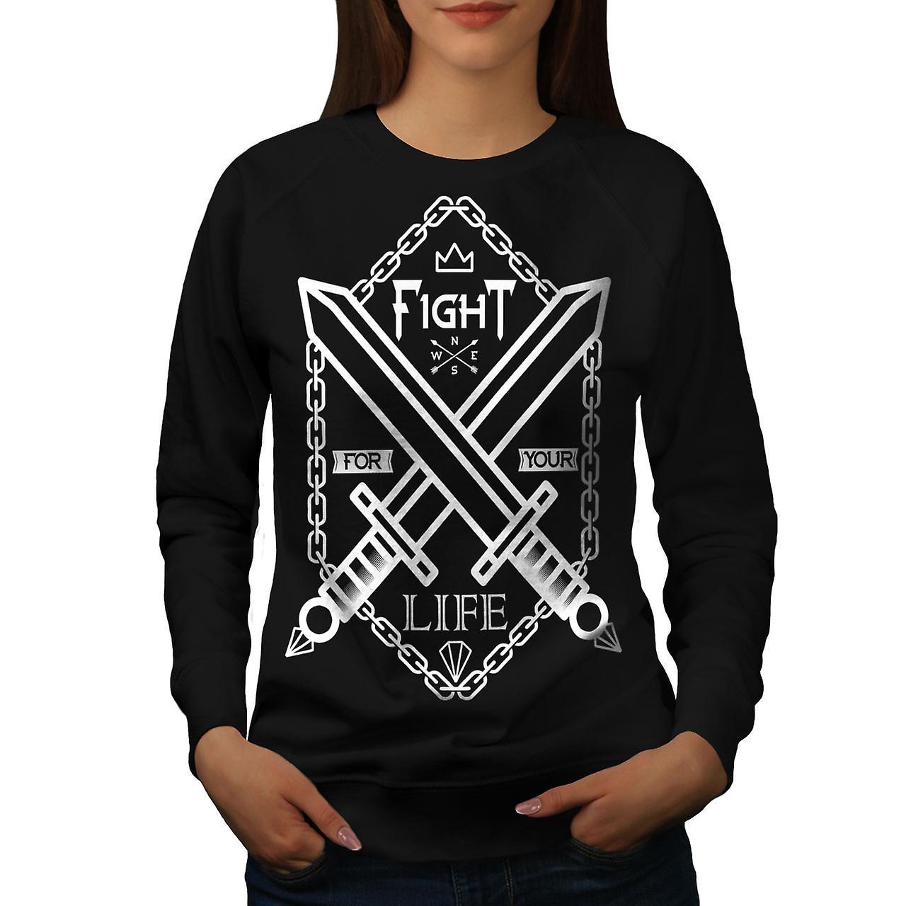Combattre la vie épée Gaming femmes noirSweatshirt