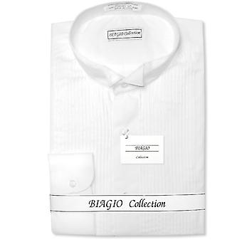 Biagio Men's 100% COTTON Solid TUXEDO Dress Shirt
