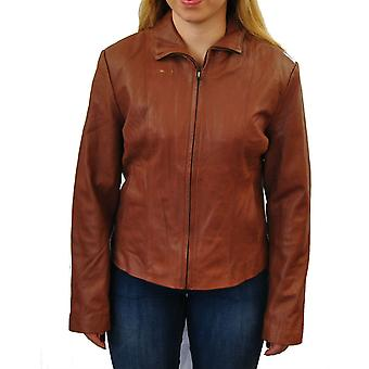Womens Zip Up Tan Large Leather Jacket