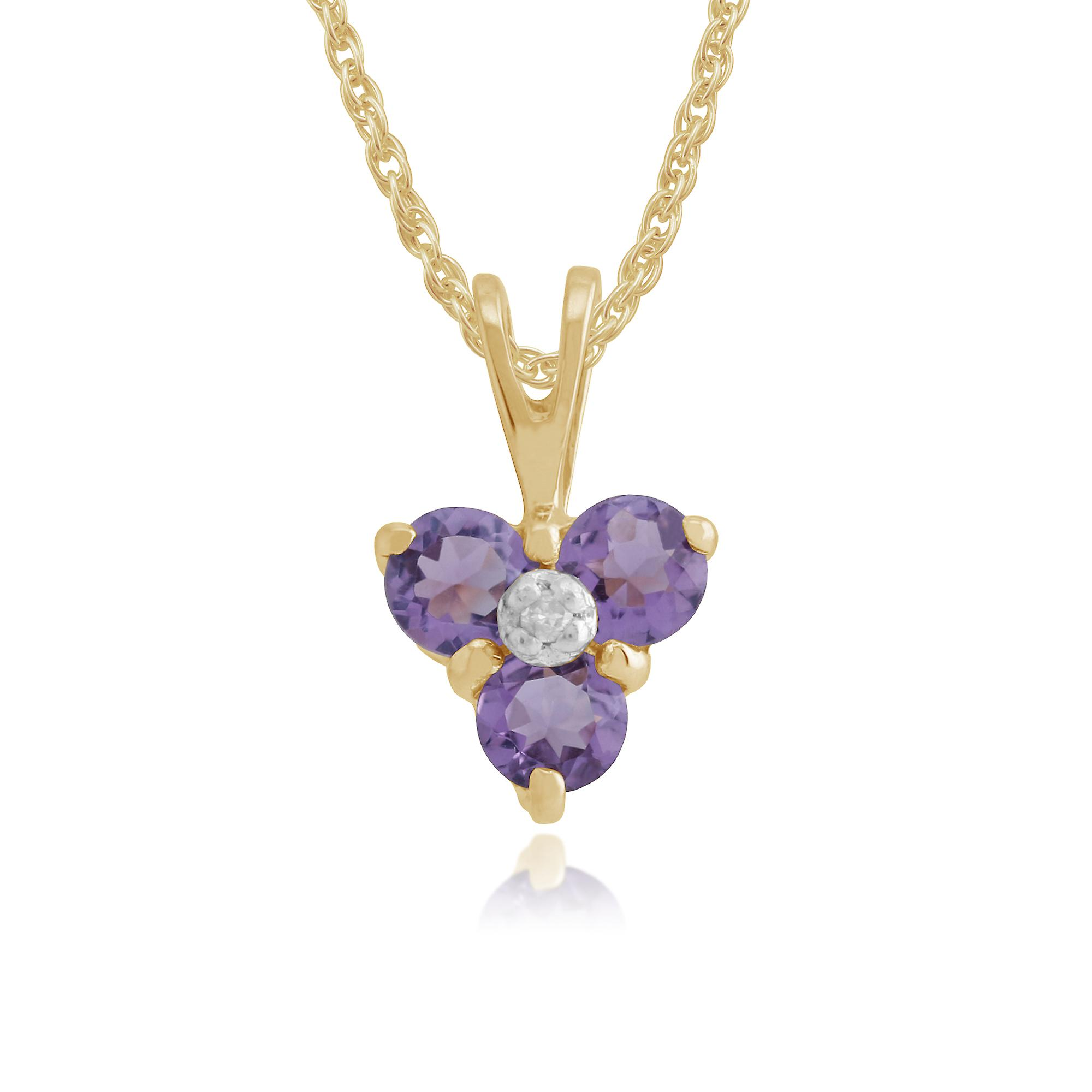 9ct Gelb Gold 0,28 ct Amethyst & Diamant-Cluster-Anhänger an Kette