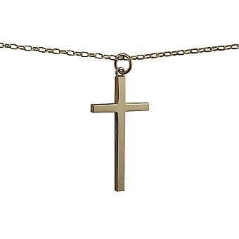9ct Gold 34x18mm plain solid block Cross with a belcher Chain 16 inches Only Suitable for Children