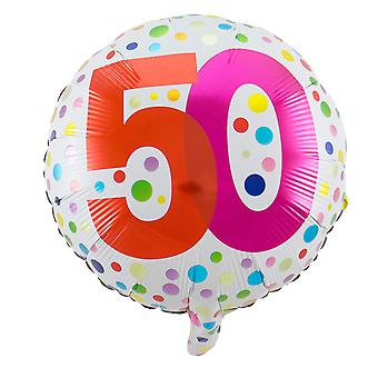 Foil balloon birthday number 50 rainbow dots about 45 cm