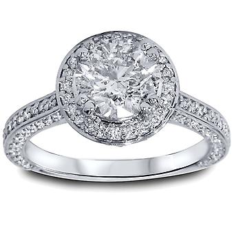 2 1 / 5ct Halo Micropave Heirloom Diamond Engagement Ring 14K White Gold