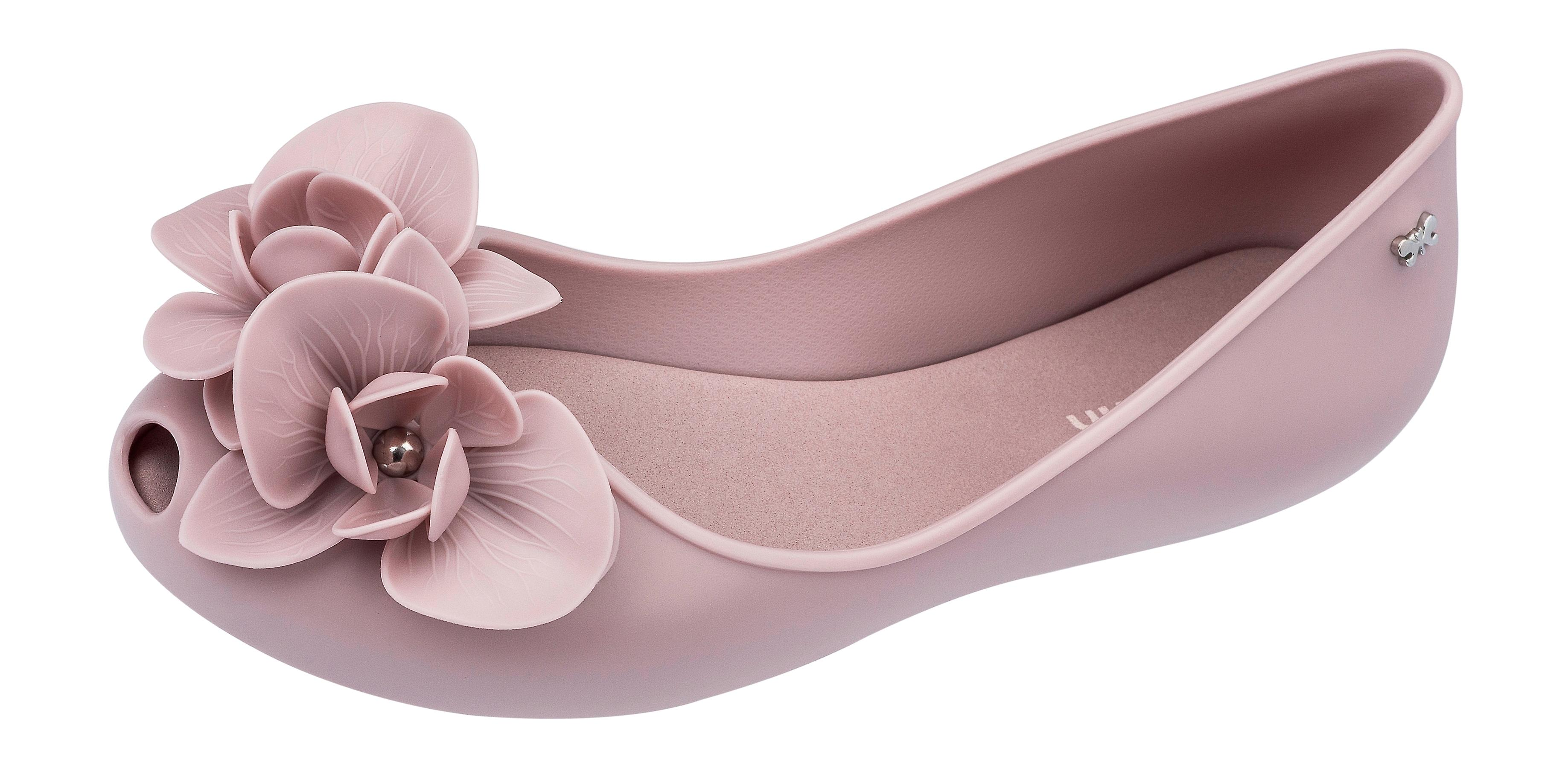 Womens Zaxy Ballet Pumps Stories Flower Peep Toe Flat - Lilac