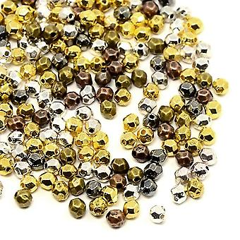 Packet 70+ Mixed Tibetan 3 x 4mm Faceted Oval Beads HA15550