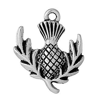 Packet 5 x Antique Silver Tibetan 24mm Thistle Charm/Pendant ZX06945