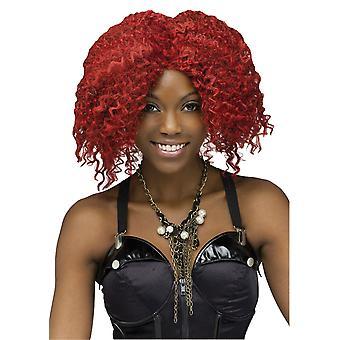 Crimp Rock Star Burgundy Red Rihanna Women Costume Wig