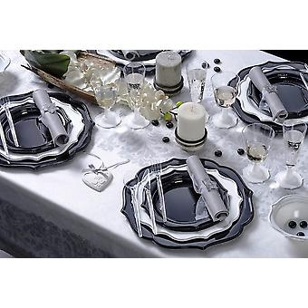 Party tableware romantic set for 6 guests 55-teilig party package Black Silver party package