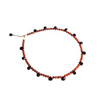 Amber necklace necklace amber & Garnet necklace gemstone jewelry MILOKOLI