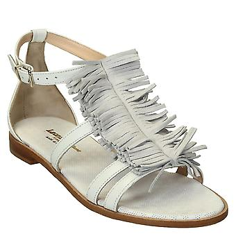 White flat sandals with leather fringes made in Italy