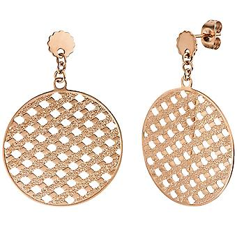 Earrings big and round satin stainless steel rose gold color coated earrings