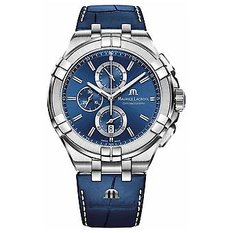 Maurice Lacroix Mens Aikon Blue Chronograph Blue Leather Strap AI1018-SS001-430-1 Watch
