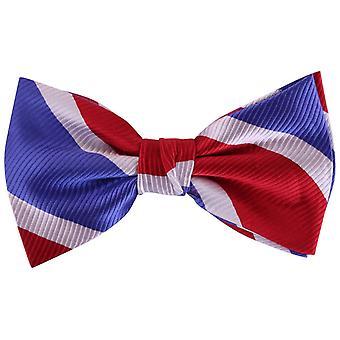 Knightsbridge Neckwear Diagonal Striped Silk Bow Tie - Red/White/Blue
