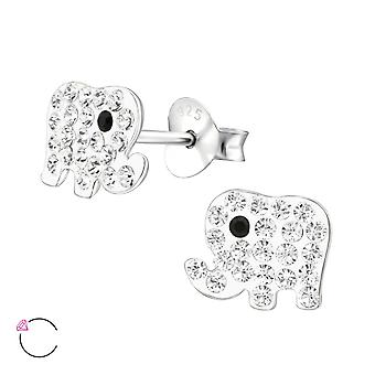 Olifant - 925 Sterling Zilver Crystal Ear Studs - W32797x