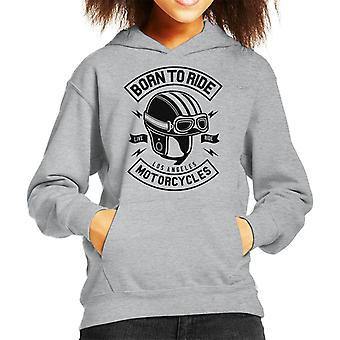 Born To Ride Motorcycles Helmet Kid's Hooded Sweatshirt