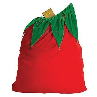 Velvet Santa Claus Bag with Bells Christmas Mens Costume Stocking Gift Red Sack