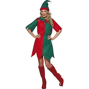 Classic Adult Ladies Elf Costume Women's Christmas Fancy Dress Outfit 8-12