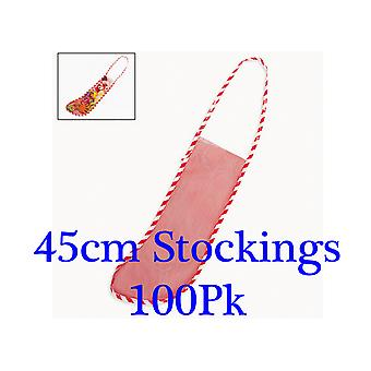 100 45cm Empty Mesh Christmas Toy or Pet Stockings to Fill | Gift Wrap Supplies