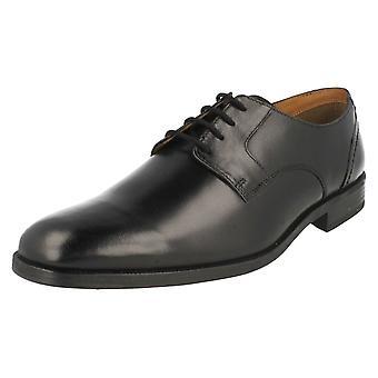 Herren Clarks formale Schuhe Bakra Feder schwarz Leder Größe UK 7G