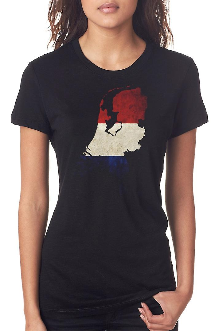 Netherlands Dutch Flag Map Ladies T Shirt