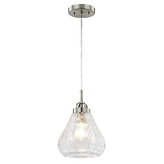 Westinghouse One-Light Pendant brushed nickel with clear crackle glass