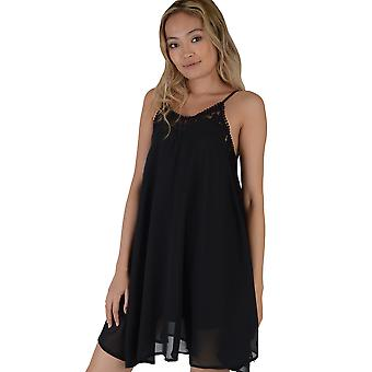 Lovemystyle Black A-Line Dress Featuring Lace Inserts
