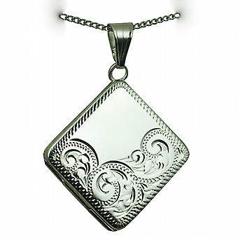 Silver 22mm half hand engraved flat diamond shaped Locket with a curb Chain 24 inches