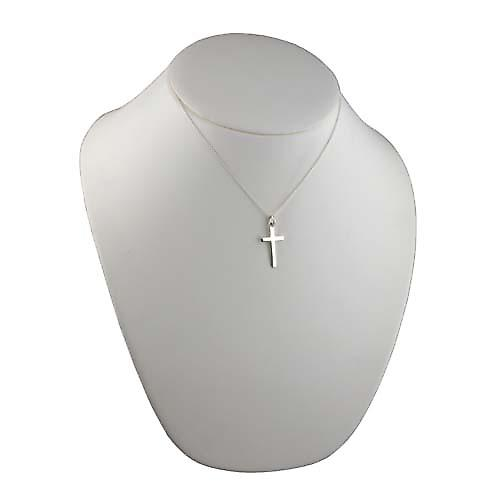 Silver 25x15mm plain solid block Cross with a rolo Chain 16 inches Only Suitable for Children