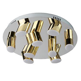 Glasberg - LED Flush Ceiling Light Nine Light Round In Chrome And Gold 609013709