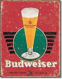 Budweiser Retro Glass metal sign  (ga)