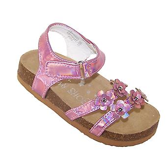 Young girls pink footbed sandals