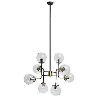 Glasberg-svart och antik mässing åtta ljus hänge med klarglas 605011008
