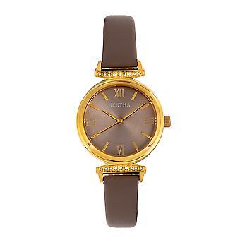 Bertha Jasmine Leather-Band Watch - Grey