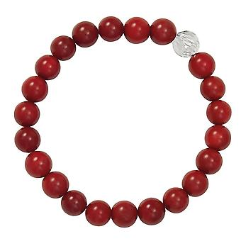 Eternal Collection Debutante Red Coral Semi Precious Beaded Silver Tone Stretch Bracelet