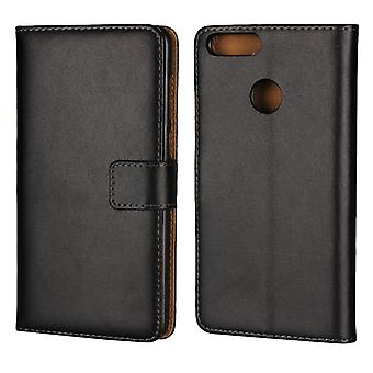 Wallet Pouch Huawei Honor 7x, genuine leather, black