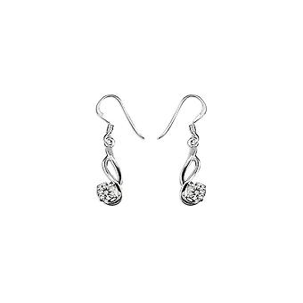 Eternity Sterling Silver Cubic Zirconia Double Wave Drop Earrings