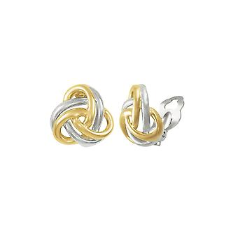 Eternal Collection Entwined Two Tone Gold Classic Knot Stud Clip On Earrings