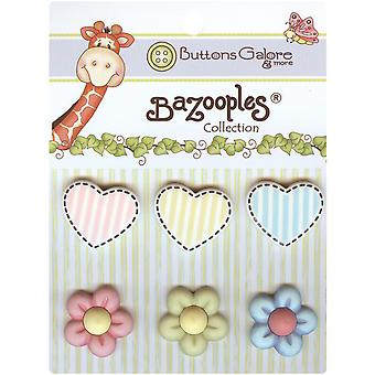 Bazooples Buttons Hearts & Flowers Bz 105