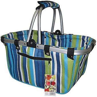 Janetbasket Blue Stripes Large Aluminum Frame Bag 18