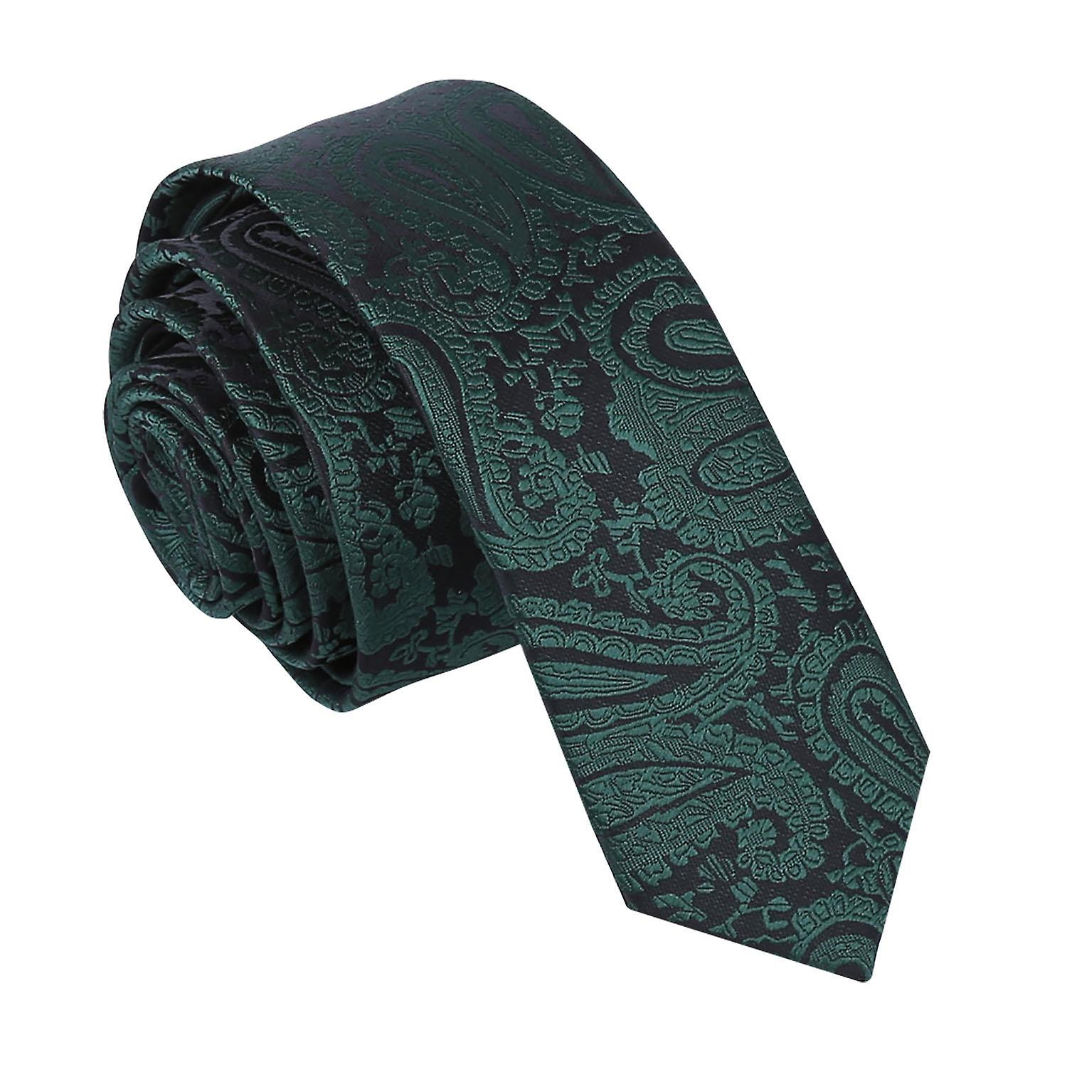Emerald Green Paisley Patterned Skinny Tie