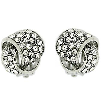 Clip On Earrings Store Silver Plated  and  Swarovski Crystal Swirl Overlapped Knot